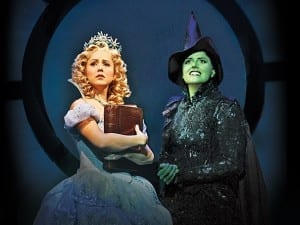 Alli Mauzey as Glinda and Nicole Parker as Elphaba in the national tour of Wicked. Last performance in Salt Lake City is August 26, 2012.