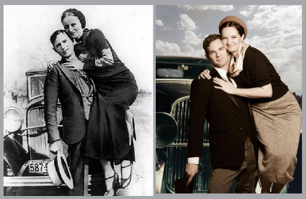 The real Bonnie and Clyde (left) and Salty Dinner Theater's actors.