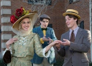 Left to right: Lauren Anderson as Irene Malloy, Marshall Madsen as Barnaby Tucker, and Jacom Clarkson as Cornelius Hackl.