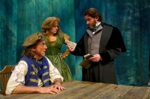 Joe Cassidy (Valjean) surrounded by, L-R, Melissa Mitchell (Cosette), Manna Nichols (Eponine), Kelly McCormick (Fantine) and Perry Sherman (Marius). Photo by Alexander Weisman.