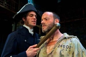 Josh Davis (Javert) and Joe Cassidy (Valjean). Photo by Alexander Weisman.