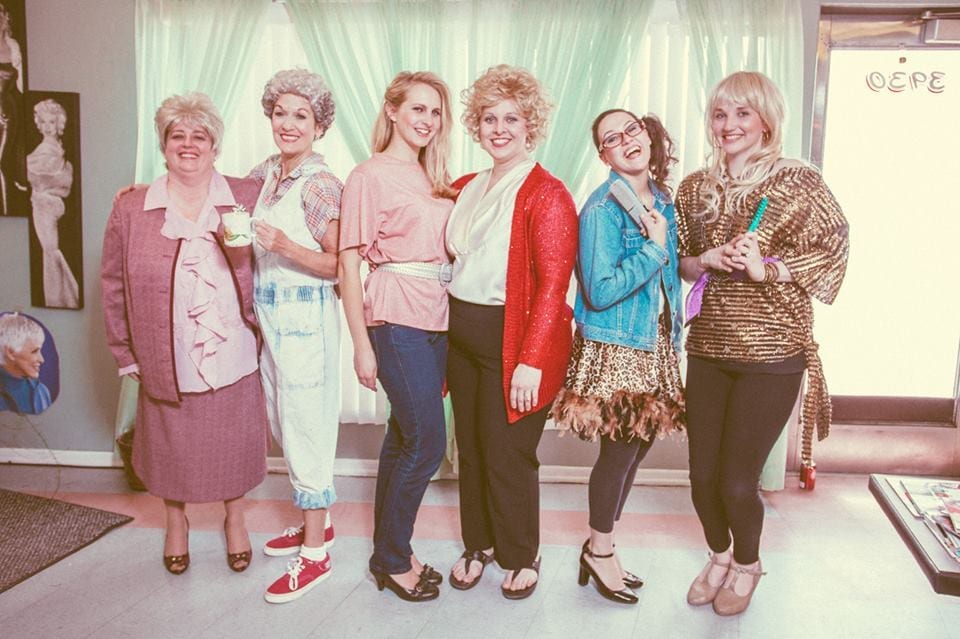Left to right: Alyn Bone (Clairee), Carol Thomas (Ouiser), Krystal Day (Shelby), Kristin Parry (M'Lynn), Erica Chofell (Annelle), and Rachel Holdaway (Truvy).