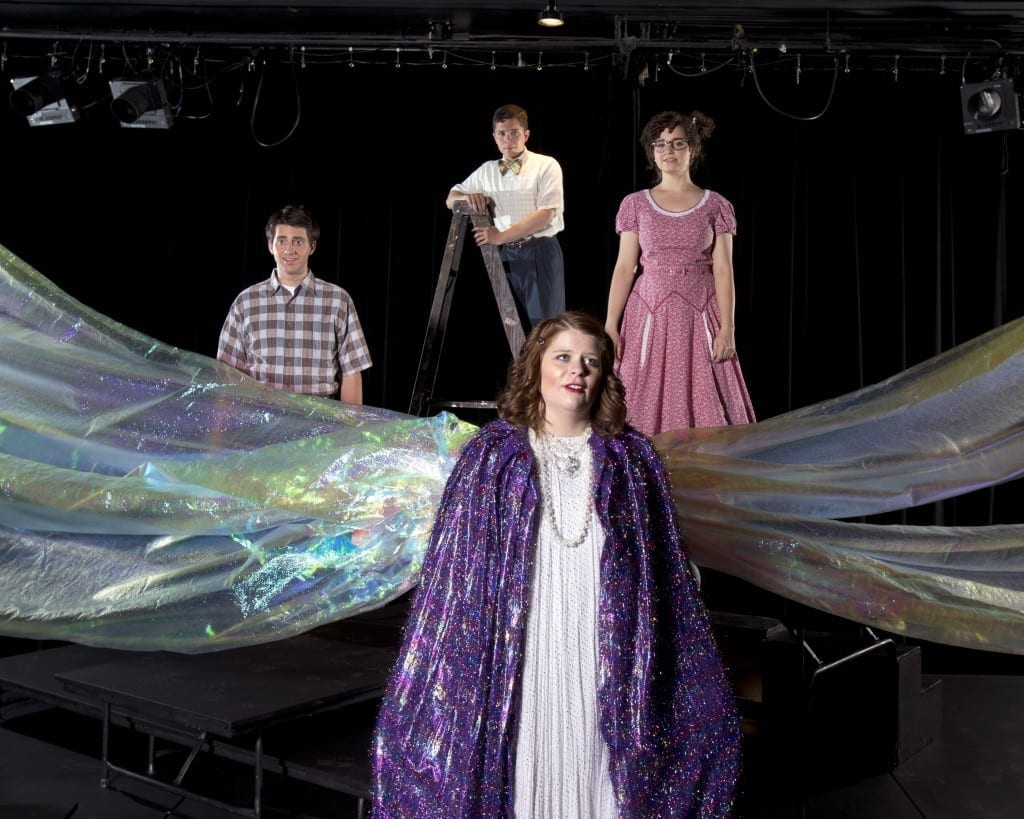 Left to right: Mrs. Whatsit (downstage: Stephanie Richardson), Calvin (Logan Hayden), Charles Wallace (Adam White) and Meg (Lindsay Clark).