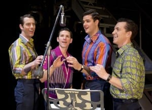 Left to right: Brandon Andrus, Nick Cosgrove, Jason Kappus and Nicolas Dromard in JERSEY BOYS. Photo: Jeremy Daniel.