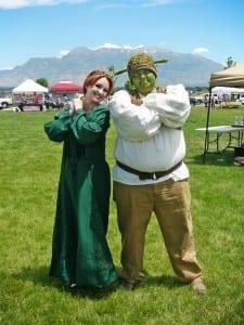 Necole Joy Davidson as Princess Fiona and Travis Anderson as Shrek.
