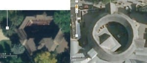 The Adams Memorial Theatre (left) and the modern Globe Theatre (right). Images taken from Google Maps. The image of the Globe has been resized so that the two images have approximately the same scale.