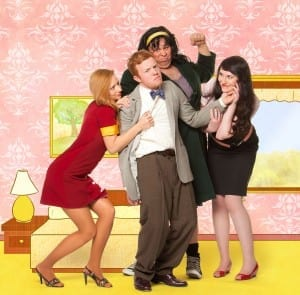 Left to right: Bethany R. Woodruff (Missy), James McKinney (Georgie), Jake Ben Suazo (Arlene), and Maddy Belle Forsyth (Heather).