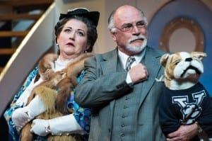 Mindy B. Young (left) as Evangeline Harcourt and Joe Vincent as Elishah Whitney in the Utah Shakespeare Festival's 2013 production of Anything Goes. (Photo by Karl Hugh. Copyright Utah Shakespeare Festival 2013.)