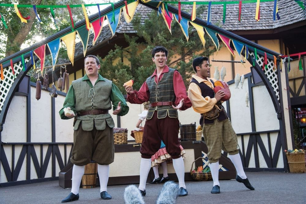 Grayson Moulton (left) as Featured Performer, Ian Taylor as Featured Performer, and Steven Rada as Featured Performer in the Utah Shakespeare Festival's 2013 production of The Greenshow. (Photo by Karl Hugh. Copyright Utah Shakespeare Festival 2013.)