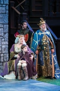 Clockwise from front, Bailey W. Duncan as Arthur, Melinda Pfundstein as Constance, Zack Powell as Prince Henry, and Fredric Stone as Philip, king of France in the Utah Shakespeare Festival's 2013 production of King John. (Photo by Karl Hugh. Copyright Utah Shakespeare Festival 2013.)