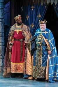 Corey Jones (left) as King John and Fredric Stone as Philip, king of France in the Utah Shakespeare Festival's 2013 production of King John. (Photo by Karl Hugh. Copyright Utah Shakespeare Festival 2013.)