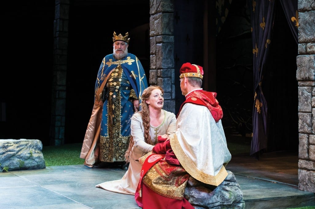 Fredric Stone (left) as Philip, king of France, Melinda Pfundstein as Constance, and A. Bryan Humphrey as Cardinal Pandulph in the Utah Shakespeare Festival's 2013 production of King John. (Photo by Karl Hugh. Copyright Utah Shakespeare Festival 2013.)