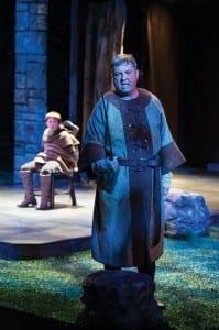 Bailey W. Duncan (left) as Arthur and Roderick Peeples as Hubert in the Utah Shakespeare Festival's 2013 production of King John. (Photo by Karl Hugh. Copyright Utah Shakespeare Festival 2013.)