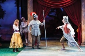 Betsy Mugavero (left) as Jaquenetta, Melisa Pereyra as Moth, Matt Zambrano as Don Adriano de Armado, and Chris Klopatek as Costard. (Photo by Karl Hugh. Copyright Utah Shakespeare Festival 2013.)