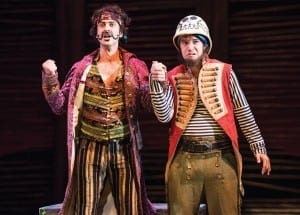 Quinn Mattfeld (left) as The Black Stache and Aaron Galligan-Stierle as Smee in the Utah Shakespeare Festival's 2013 production of Peter and the Starcatcher. (Photo by Karl Hugh. Copyright Utah Shakespeare Festival 2013.)