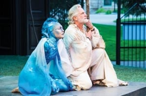 Melinda Parrett (left) as Ariel and Henry Woronicz as Prospero in Utah Shakespeare Festival's 2013 production of The Tempest. (Photo by Karl Hugh. Copyright Utah Shakespeare Festival 2013.) Show closes August 31, 2013.