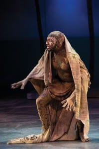Corey Jones as Caliban in the Utah Shakespeare Festival's 2013 production of The Tempest. (Photo by Karl Hugh. Copyright Utah Shakespeare Festival 2013.)