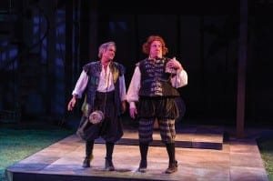 James Newcomb (left) as Stephano and Roderick Peeples as Trinculo in the Utah Shakespeare Festival's 2013 production of The Tempest. (Photo by Karl Hugh. Copyright Utah Shakespeare Festival 2013.)