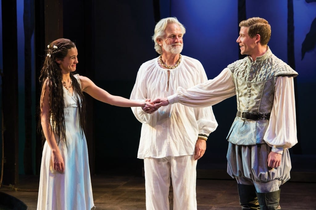Melisa Pereyra (left) as Miranda, Henry Woronicz as Prospero, and Jeb Burris as Ferdinand in the Utah Shakespeare Festival's 2013 production of The Tempest. (Photo by Karl Hugh. Copyright Utah Shakespeare Festival 2013.)