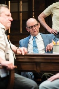 Roderick Peeples (left) as Juror #10 and A. Bryan Humphrey as Juror #4 in the Utah Shakespeare Festival's 2013 production of Twelve Angry Men. (Photo by Karl Hugh. Copyright Utah Shakespeare Festival 2013.)