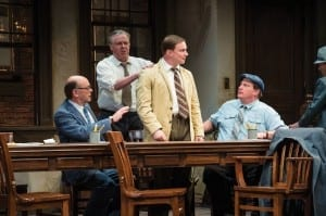 A. Bryan Humphrey (left) as Juror #4, Max Robinson as Juror #3, Steve Wojtas as Juror #5, and Michael A. Harding as Juror #6 in the Utah Shakespeare Festival's 2013 production of Twelve Angry Men. (Photo by Karl Hugh. Copyright Utah Shakespeare Festival 2013.)