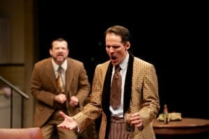 Rod Brogan as Ernest Hemingway (background) and Joey Collins as F. Scott Fitzgerald (center). Photo by Seth Freeman.