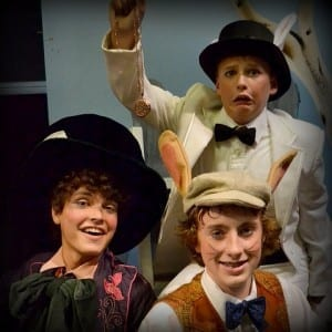 Thomas Rowe (top) as the White Rabbit, Warren Tharp (left) as the Mad Hatter, and Zachary Linnett (bottom right) as the March Hare.