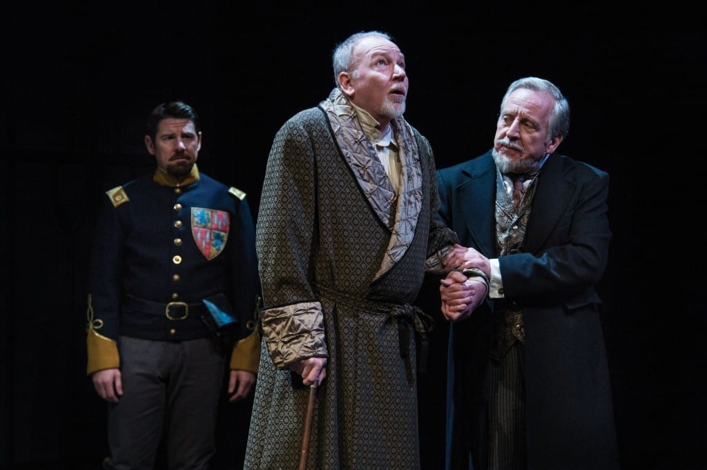 Brian Vaughn (left) as Earl of Northumberland, Dan Kremer as John of Gaunt and Dan Frezza as Edmund of Langley in the Utah Shakespeare Festival's 2013 production of Richard II. (Photo by Karl Hugh. Copyright Utah Shakespeare Festival 2013.)