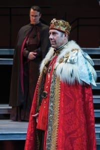Matt Mueller (left) as Bishop of Carlisle David Ivers as Richard II in the Utah Shakespeare Festival's 2013 production of Richard II. (Photo by Karl Hugh. Copyright Utah Shakespeare Festival 2013.)