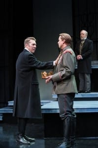 David Ivers (left) as Richard II, Larry Bull as Henry Bullingbrook, and Dan Frezza as Edmund of Langley in the Utah Shakespeare Festival's 2013 production of Richard II. (Photo by Karl Hugh. Copyright Utah Shakespeare Festival 2013.)