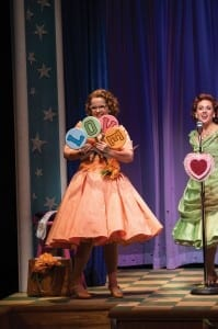Victoria Cook (left) as Missy and Natalie Storrs as Betty Jean in the Utah Shakespeare Festival's 2013 production of The Marvelous Wonderettes. (Photo by Karl Hugh. Copyright Utah Shakespeare Festival 2013.)