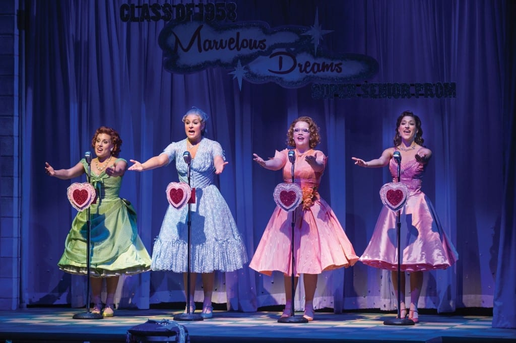 Natalie Storrs (left) as Betty Jean, Cate Cozzens as Suzy, Victoria Cook as Missy, and Barbara Jo Bednarczuk as Cindy Lou in the Utah Shakespeare Festival's 2013 production of The Marvelous Wonderettes. (Photo by Karl Hugh. Copyright Utah Shakespeare Festival 2013.)