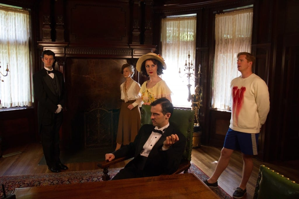 L-R: Jaron Barney (Clive), Tia Speros (Miss Tweed), Laura Hall (Hope), Joseph Medeiros (Nigel) and Will Ray (Geoffrey). Photo by Brent Uberty at the McCune Mansion.