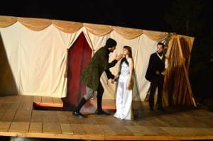 Left to Right: Eric Geels as Doctor Faustus, Amber Dodge as Helen of Troy, and Shawn Saunders as Mephistopheles.