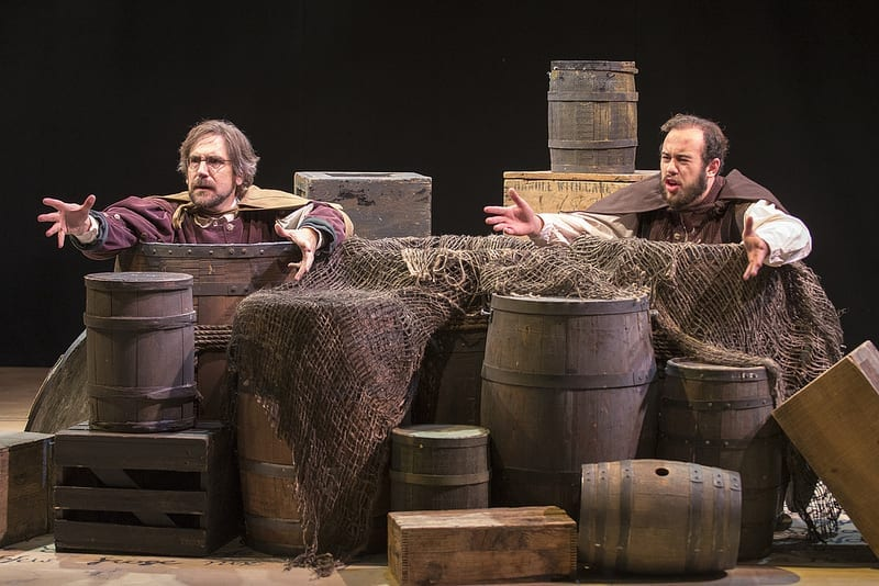 Mark Fossen as Rosencrantz and Mark Macey as Guildenstern in Rosencrantz and Guildenstern Are Dead by Tom Stoppard. Directed by Jerry Rapier. Studio 115. Photo by Spencer Sandstrom.