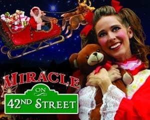 Miracle on 42nd Street plays through January 4th. (Left: Richie T. Steadman, Right: Kerstin Davis. Photos by Chad Witlock & Megan Summers)