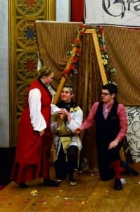 Jessamyn Svensson as Hermione, George Lucero as King Polixenes, and Phil Varney as Camillo.