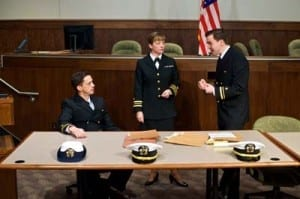 Spencer Moses (Lt. J.G. Sam Weinberg), Kate Middleton (Lt. Cmdr. Galloway) and Joe Tapper (Lt. J.G. Kaffee).