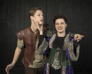Bryson Alley as Leonatus and Jasmine Fullmer as The Queen.