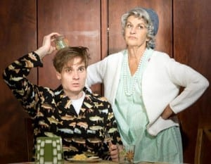 Brandon Green as Ellard Simms and Tanya Radebaugh as Betty Meeks in The Foreigner at Hale Centre Theatre.