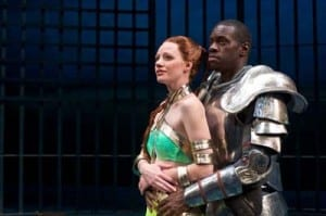 Ashley Wickett as Hero and Terrell Donnell Sledge as Claudio. Photo by Alexander Weisman.