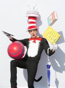 Shawn Mortensen as the Cat in the Hat. Photo by Mark A. Philbrick.