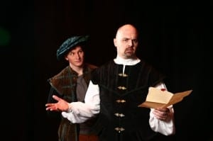 Ben Isaacs as the Common Man and Ben Hopkin as Thomas More. Show closes March 22, 2014.