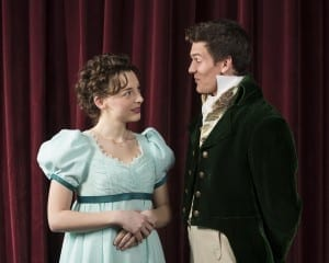 Aubrey Reynolds as Jane Bennett and Austen Jensen as Charles Bingley.