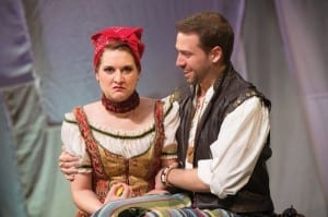 Malloree Hill (left) as Katherina and Tom Littman as Petruchio in the Utah Shakespeare Festival's 2014 Shakespeare-in-the-Schools production of The Taming of the Shrew. (Photo by Karl Hugh. Copyright 2014 Utah Shakespeare Festival.)