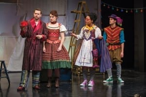 Tom Littman (left) as Petruchio, Malloree Hill as Katherina, Tetrianna Silas as Zany #2, and Misha Fristensky as Grumio in the Utah Shakespeare Festival's 2014 Shakespeare-in-the-Schools production of The Taming of the Shrew. (Photo by Karl Hugh. Copyright 2014 Utah Shakespeare Festival.)