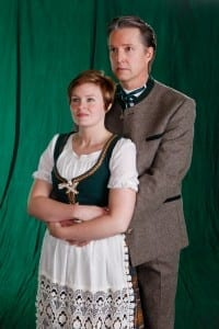 Micky Pace Larson as Maria and Sterling Hanks as Captain von Trapp.