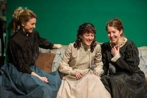 Elizabeth John as Olga, Amy Ware as Irina, and Hannah Minshew as Masha.