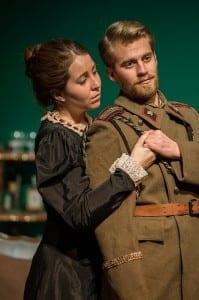 Hannah Minshew as Masha and Wyatt McNeil as Vershinin.