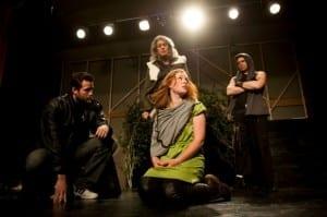 Front: David Lassetter as Theseus, Heidi Smith Anderson as Hermia. Rear: Jan Williams as Egeus and Jared Lynton as Demetrius.